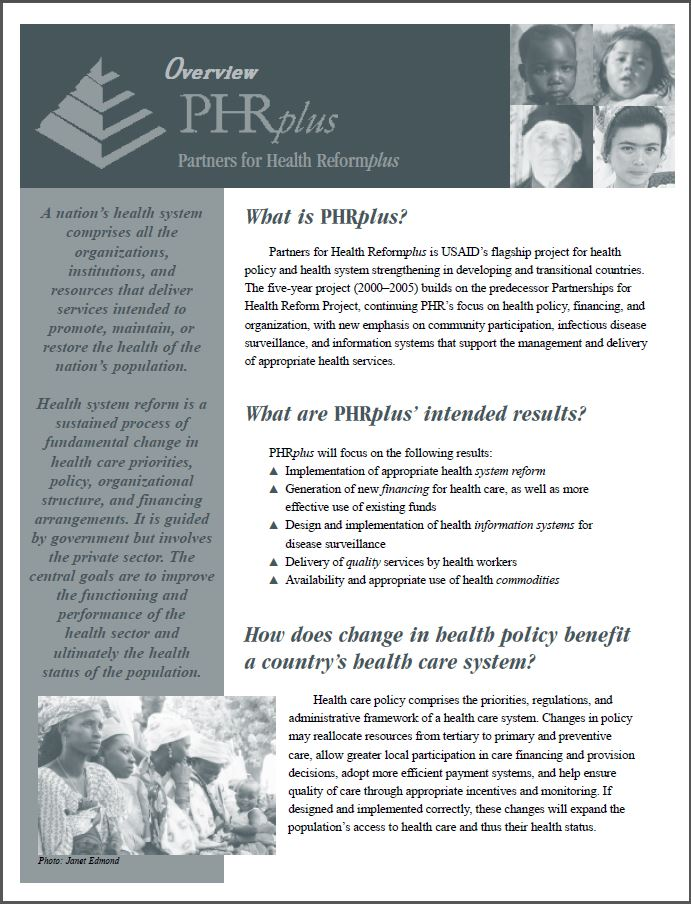 first page of PHR plus overview