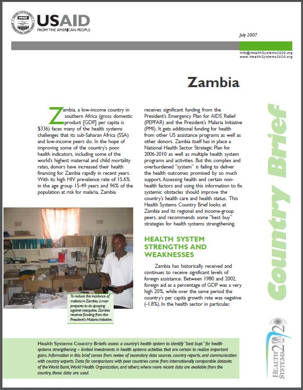First Page: Zambia - Country Brief