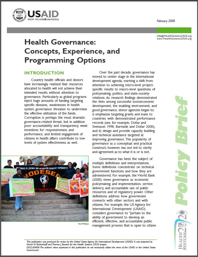 Cover Page of Health Governance: Concepts, Experience, and Programming Options