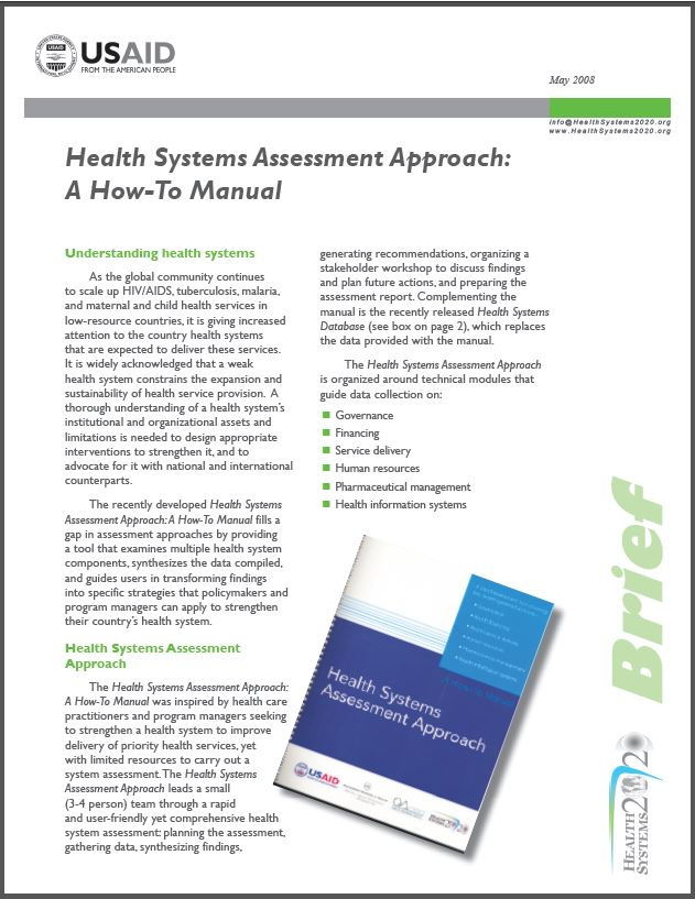 Cover Page for Brief: Health Systems Assessment Approach: A How-To Manual