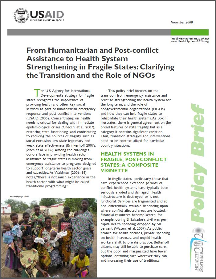 First Page of Brief for From Humanitarian and Post-conflict Assistance to Health System Strengthening in Fragile States: Clarifying the Transition and the Role of NGOs