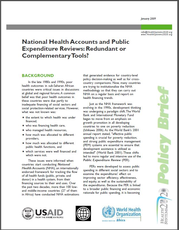 First Page: National Health Accounts and Public Expenditure Reviews: Redundant or Complementary Tools?