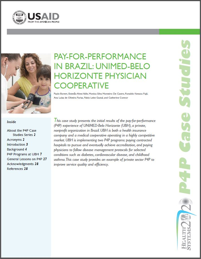 first page: Pay-for-performance in Brazil: UNIMED-Belo Horizonte Physician Cooperation