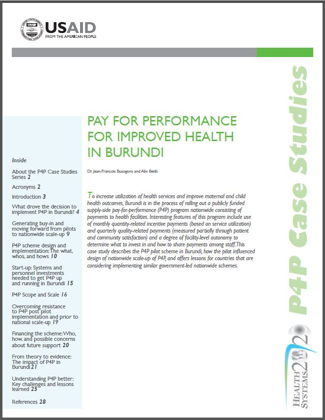 Cover Page of Pay for Performance for Improved Health In Burundi Brief