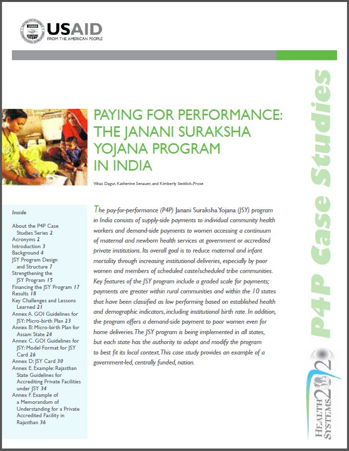 First Page: Paying for Performance: The Janani Suraksha Yojana Program in India