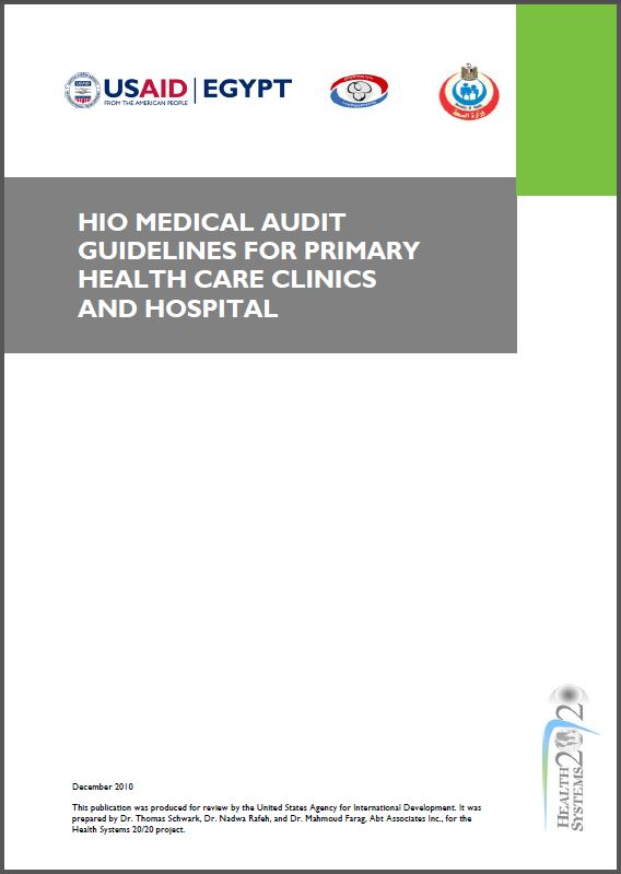 Cover Page: HIO Medical Audit Guidelines For Primary Health Care Clinics and Hospital