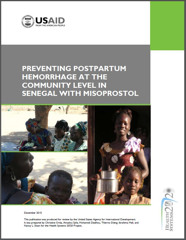 Cover Page: Preventing Postpartum Hemorrhage at the Community Level in Senegal with Misoprostol