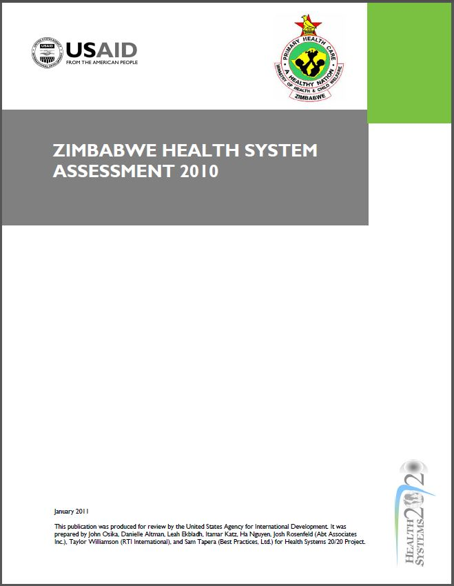Cover Page of Zimbabwe Health System Assessment 2010