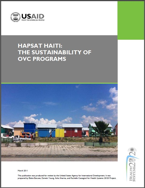 Cover Page: HAPSAT HAITI: The Sustainability of OVC Programs