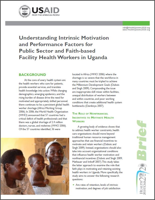 First Page: Understanding Intrinsic Motivation and Performance Factors for Public Sector and Faith-based Facility Health Workers in Uganda