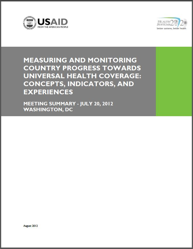 Cover Page of Measuring and Monitoring Country Progress towards Universal Health Coverage
