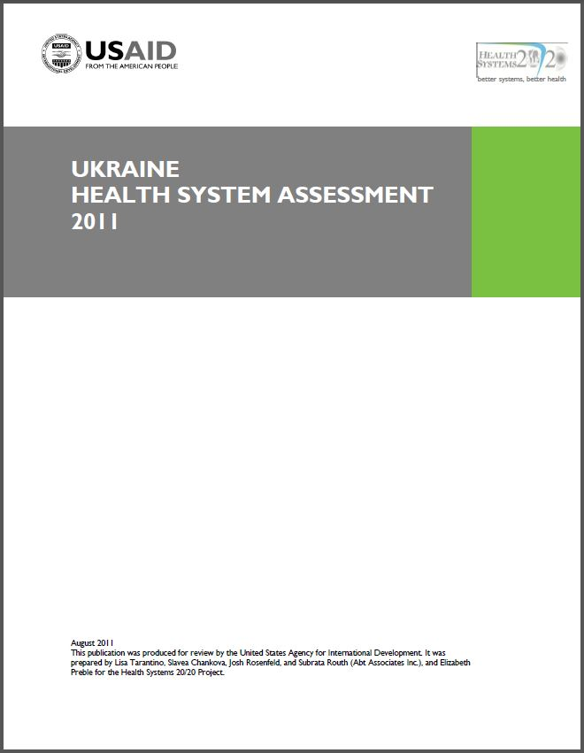 Cover Page of Ukraine Health System Assessment 2011