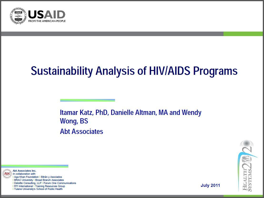 Cover Slide: Sustainability Analysis of HIV/AIDS Programs