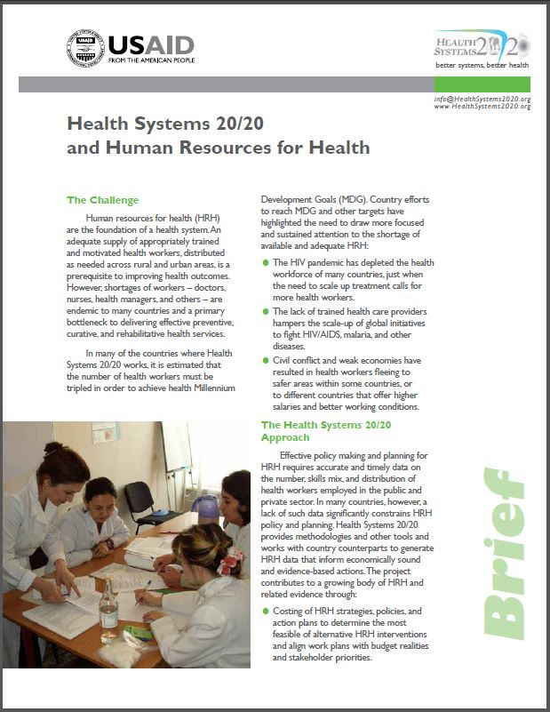 First Page: Health Systems 20/20 and Human Resources for Health