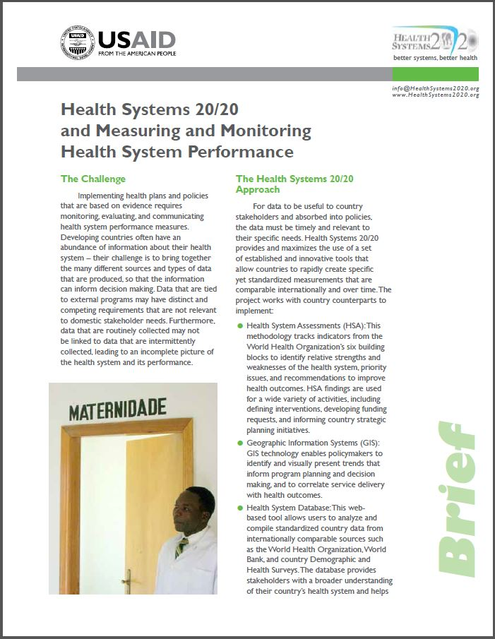first page of Health Systems 20/20 and Measuring and Monitoring Health System Performance brief