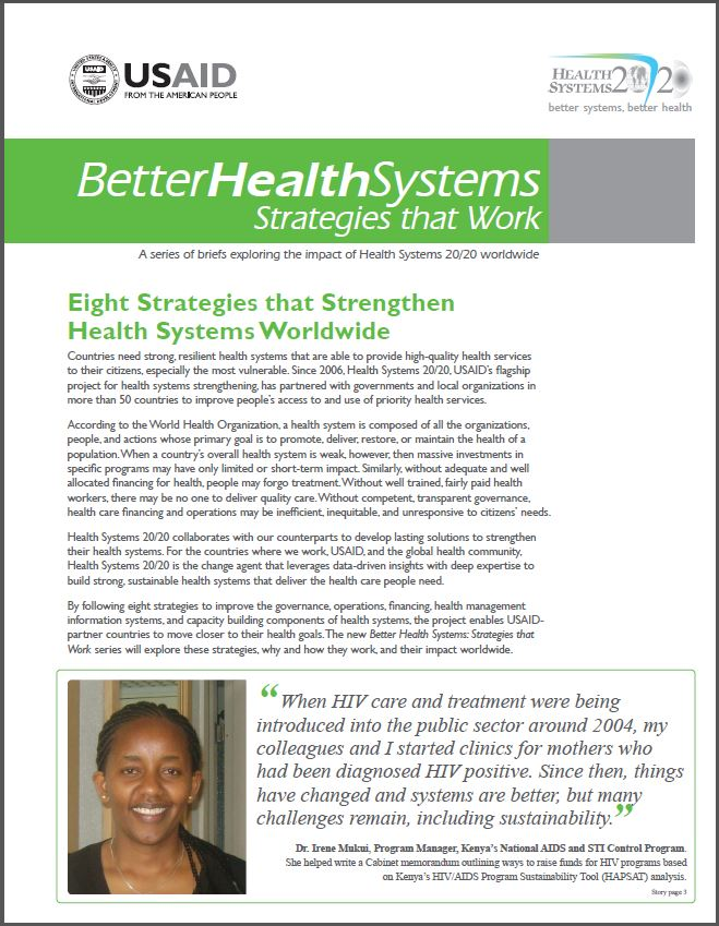 First Page of Eight Strategies that Strengthen Health Systems Worldwide Brief