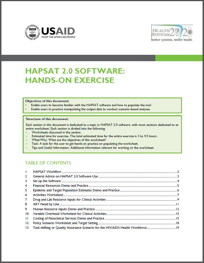 Page One: HAPSAT 2.0 Software: Hands-on Exercise