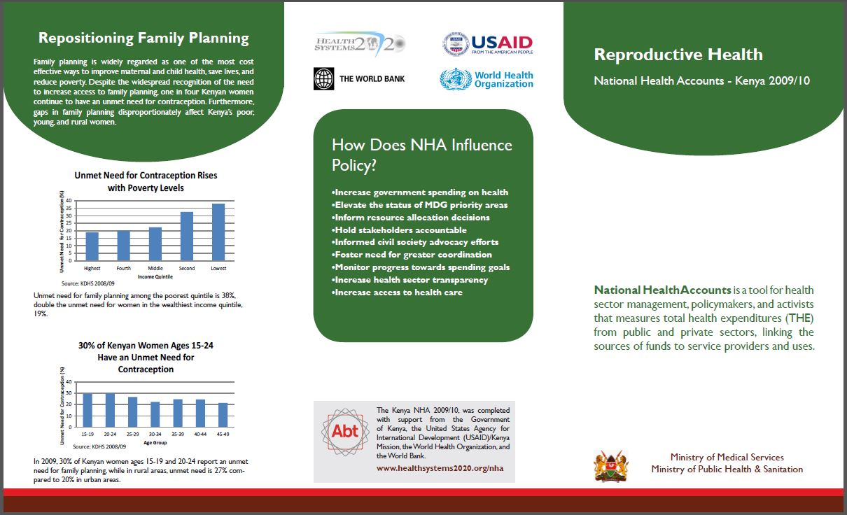 Kenya NHA 2009/10 - Reproductive Health Subaccount Brochure