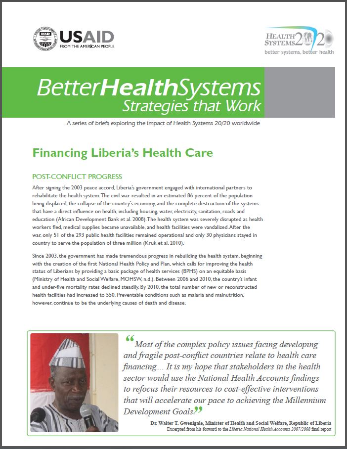 First Page: Financing Liberia's Health Care