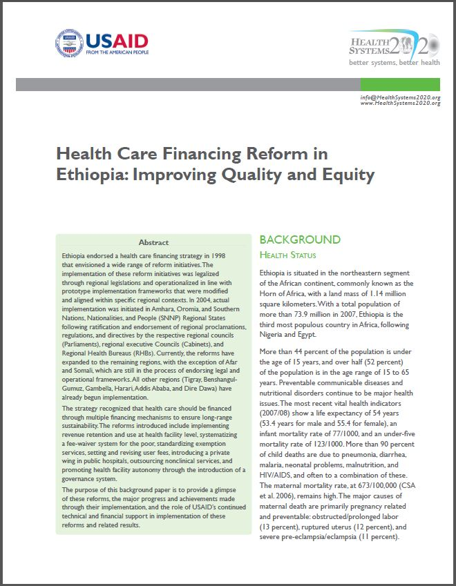 First Page of Health Care Financing Reform in Ethiopia: Improving Quality and Equity Brief