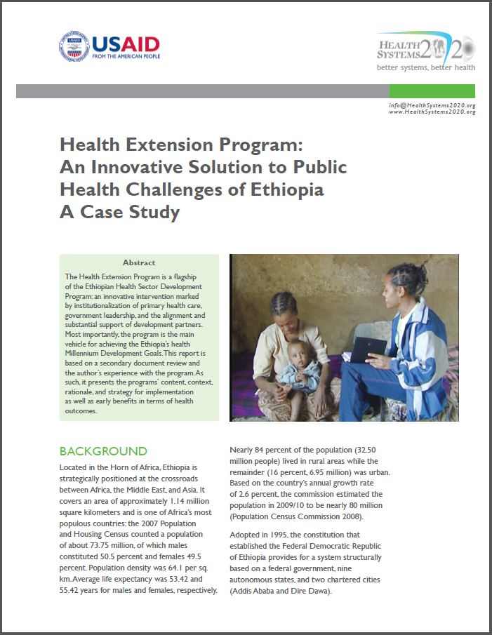 First Page: Health Extension Program: An Innovative Solution to Public Health Challenges of Ethiopia - A Case Study