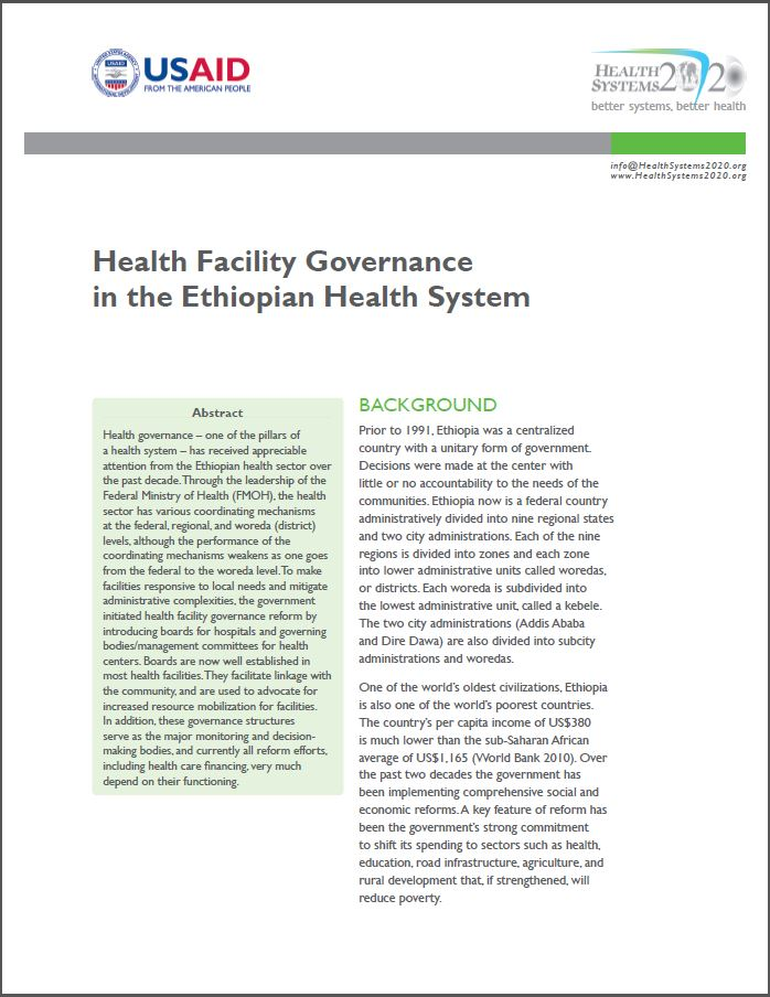 First Page:Health Facility Governance in the Ethiopian Health System
