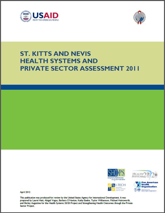 Cover Page of St. Kitts and Nevis Health Systems and Private Sector Assessment 2011