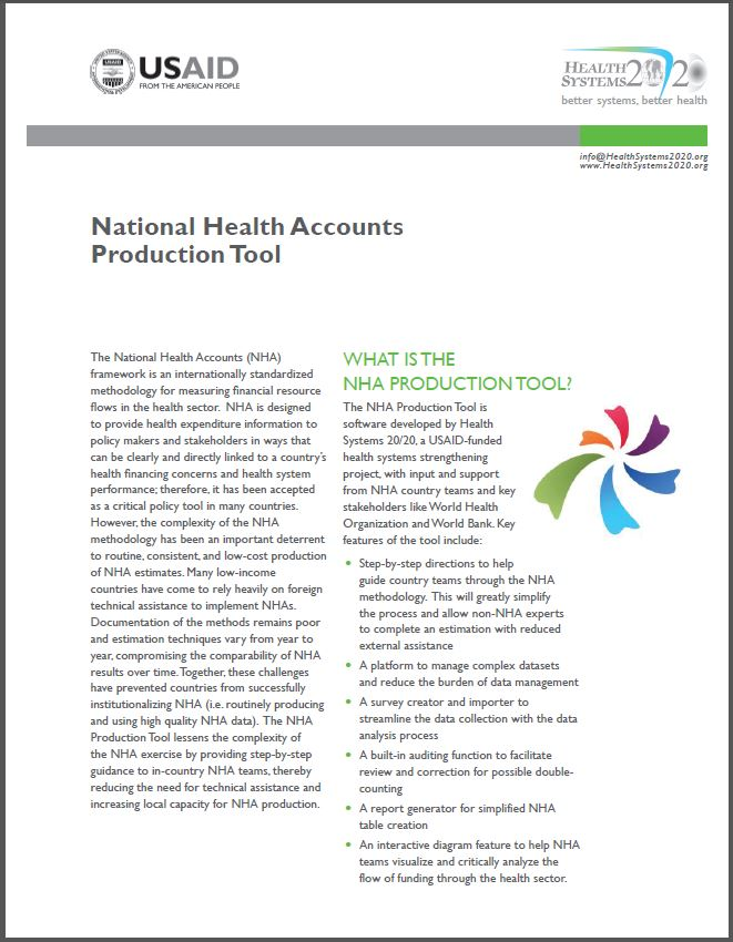 First Page of National Health Accounts Production Tool Brief