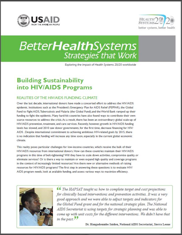 First Page: Building Sustainability into HIV/ AIDS Programs