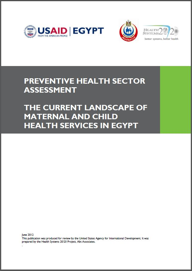 Cover Page: Preventive Health Sector Assessment: the Current Landscape of Maternal and Child Health Services In Egypt