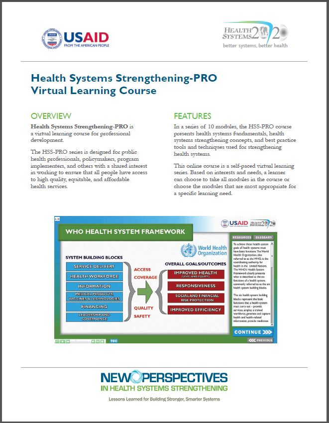 First Page of Health Systems Strengthening-PRO Virtual Learning Course Brief