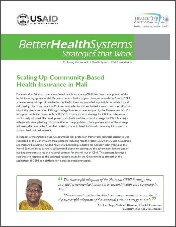 First page of Scaling Up Community-Based Health Insurance in Mali brief