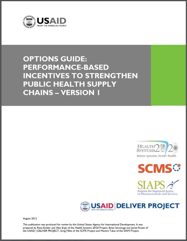 Cover Page: Options Guide: Performance-Based Incentives to Strengthen Public Health Supply Chains – Version 1