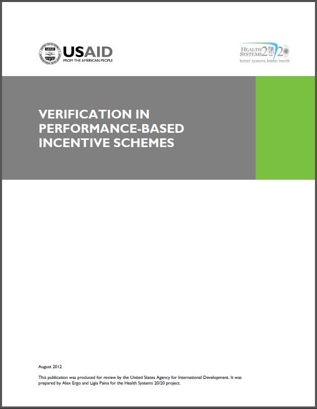 Cover Page: Verification in Performance-Based Incentive Schemes
