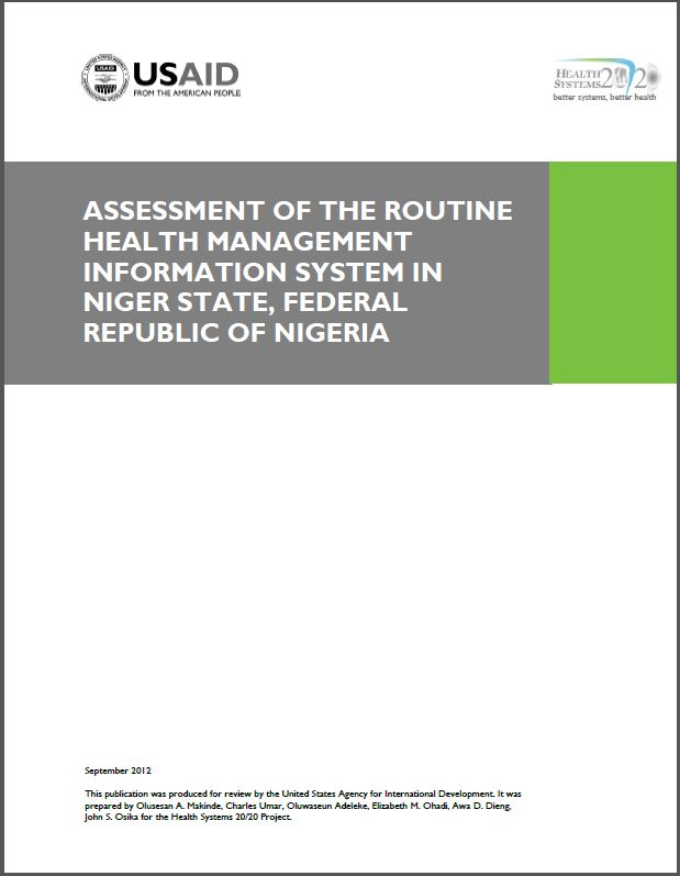 Cover Page: Assessment of the Routine Health Management Information System in Niger State, Federal Republic of Nigeria