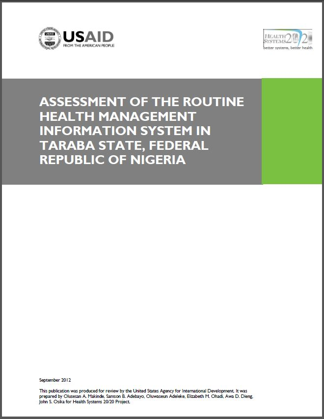 Cover Page of Assessment of the Routine Health Management Information System in Taraba State, Federal Republic of Nigeria