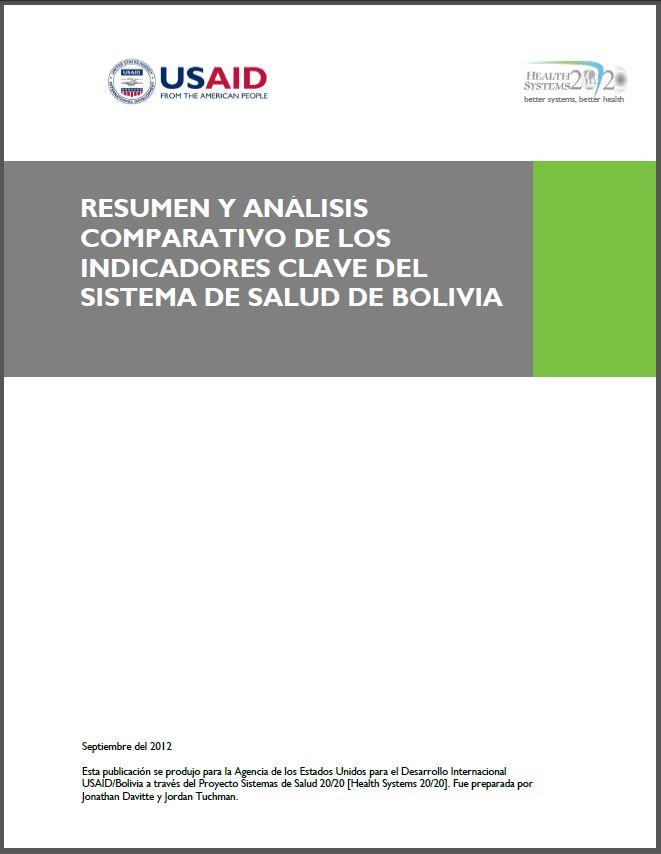 Cover Page of Resumen y Análisis de los Indicadores Clave del Sistema de Salud de Bolivia