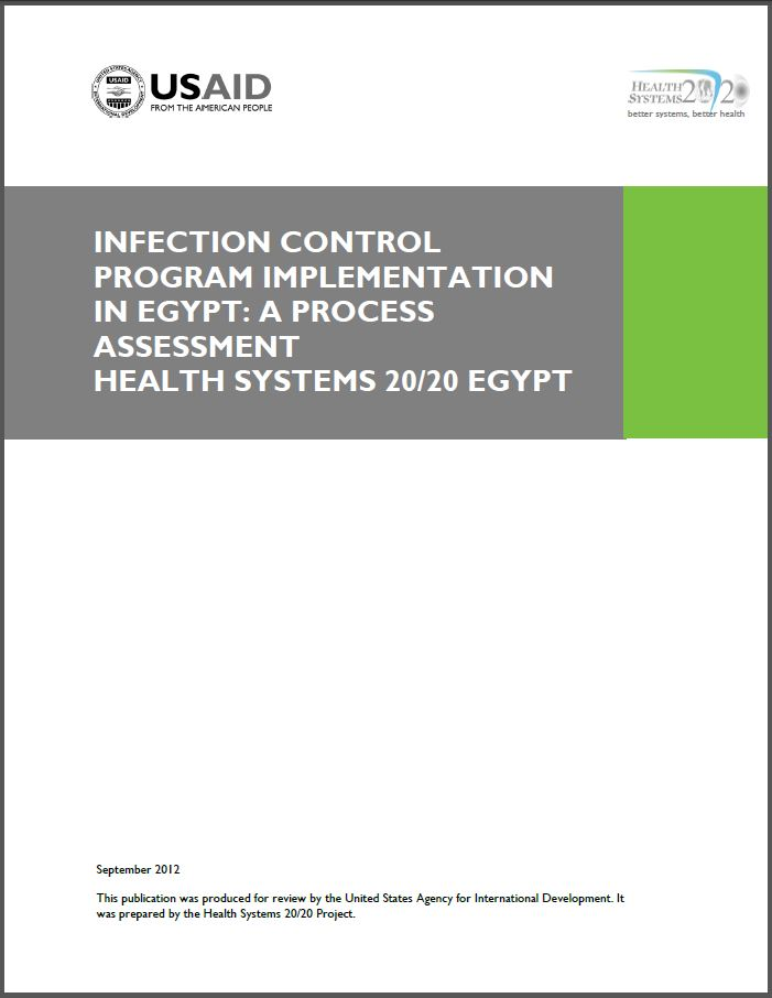 Cover Page: Infection Control Program Implementation in Egypt: A Process Assessment