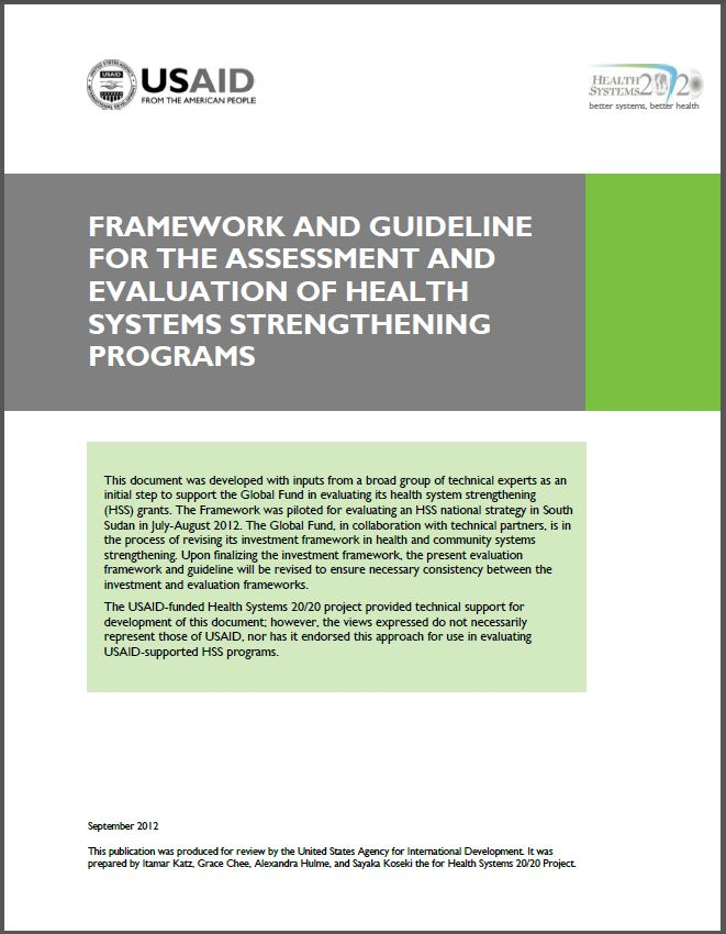 Cover Page of Framework and Guideline for the Assessment and Evaluation of Health Systems Strengthening Programs