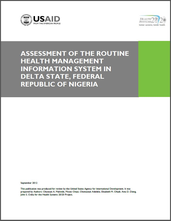 cover page of Assessment of the Routine Health Management Information System in Delta State, Federal Republic of Nigeria