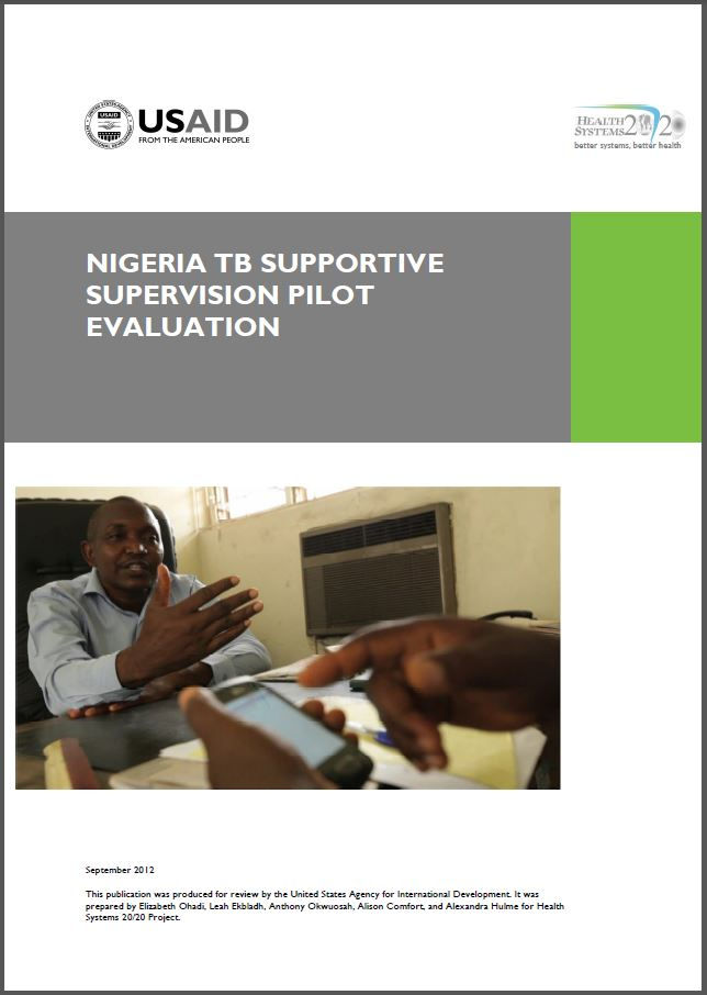 cover page of Nigeria TB Supportive Supervision Pilot Evaluation