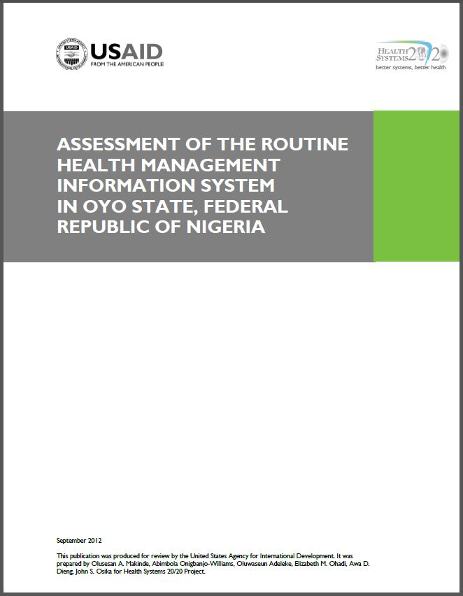 Cover Page of Assessment of the Routine Health Management Information System in Oyo State, Federal Republic of Nigeria