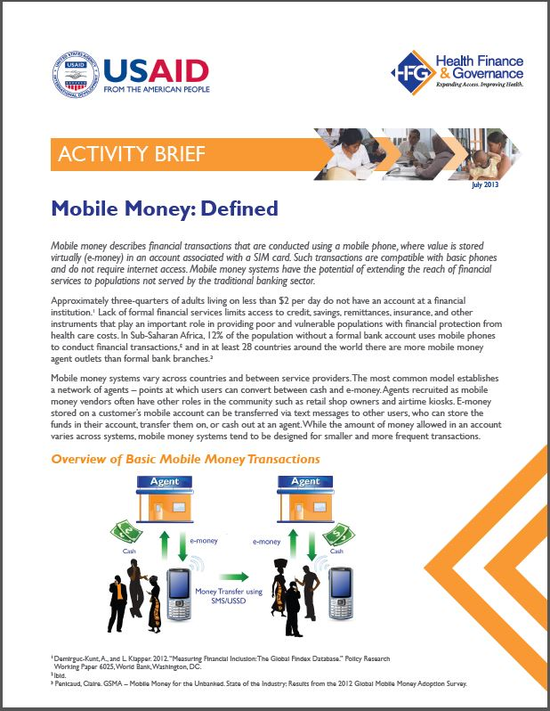 First Page: Mobile Money Defined
