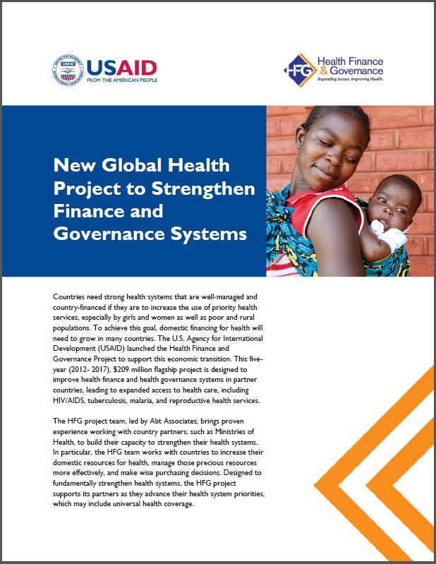 First Page: New Global Health Project to Strengthen Health Finance and Governance Systems