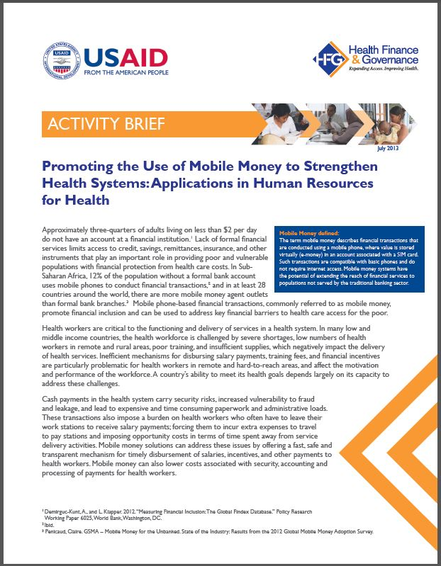 First Page: Promoting the Use of Mobile Money to Strengthen Health Systems: Applications for Human Resources for Health