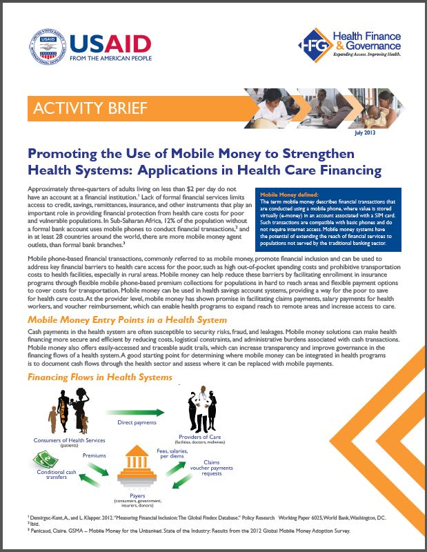 First Page: Promoting the Use of Mobile Money to Strengthen Health Systems: Applications for Health Care Financing