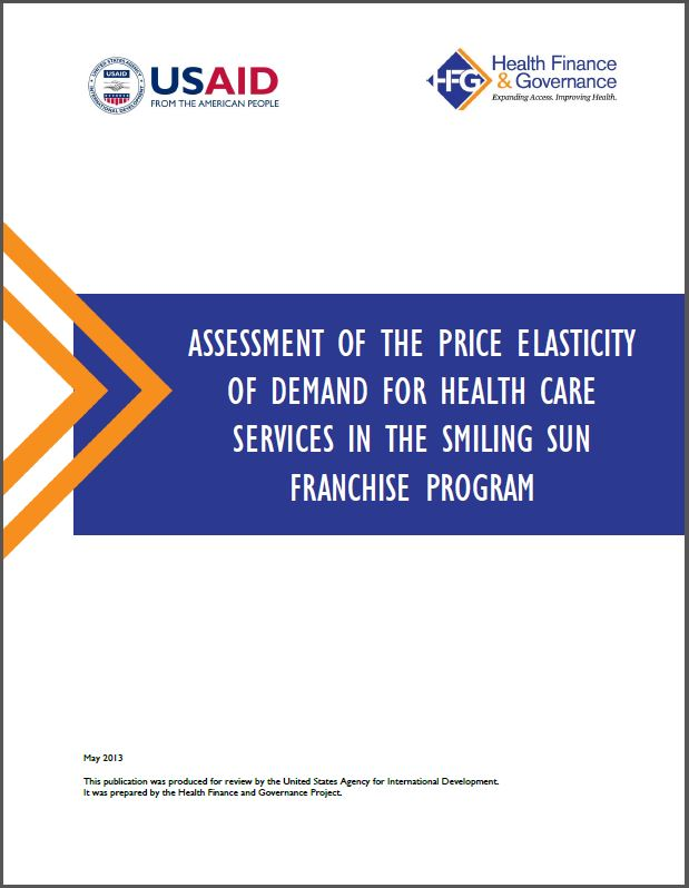 Cover Page:Assessment of the price elasticity of demand for health care services in the Smiling Sun Franchise Program (Bangladesh)