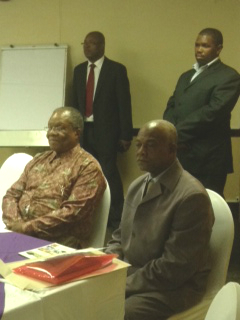 The Prime Minister of Swaziland Barnabas Sibusiso Dlamini opens HFG's HRH retreat. To his right is the Education Minister Phineas Magagula.