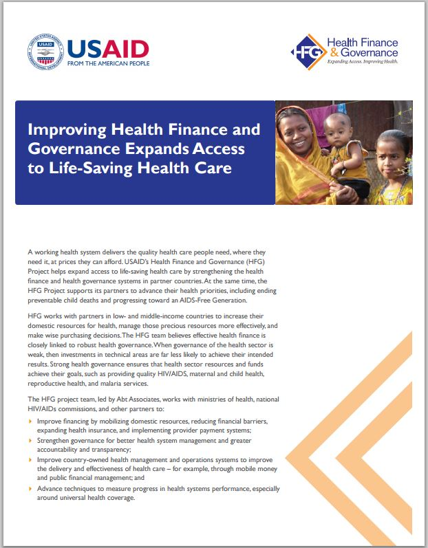 First Page: Improving Health Finance and Governance Expands Access to Life-Saving Health Care