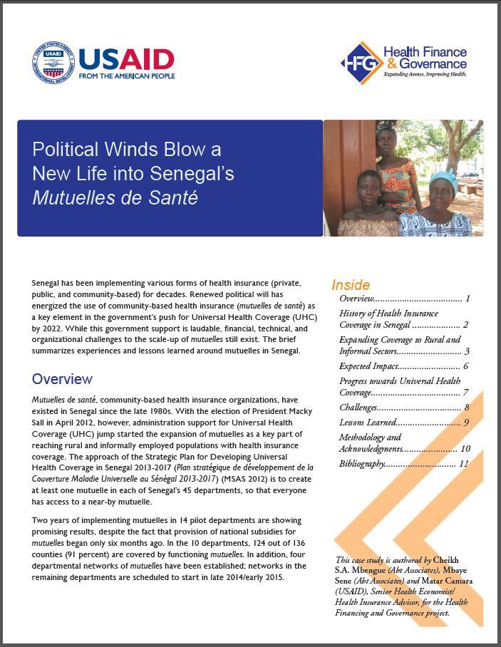 First Page: Political Winds Blow a New Life into Senegal's Mutuelles de Santé